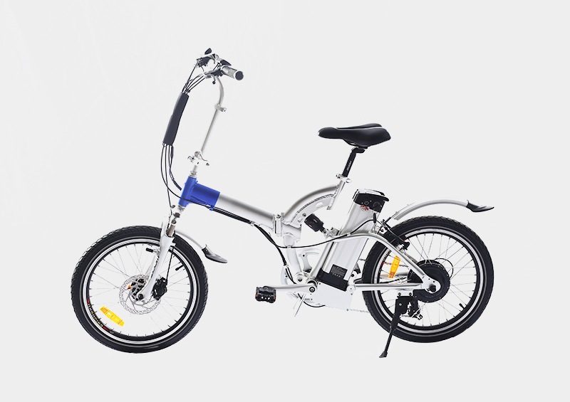full suspension frame silver fish battery electric folding bicycle